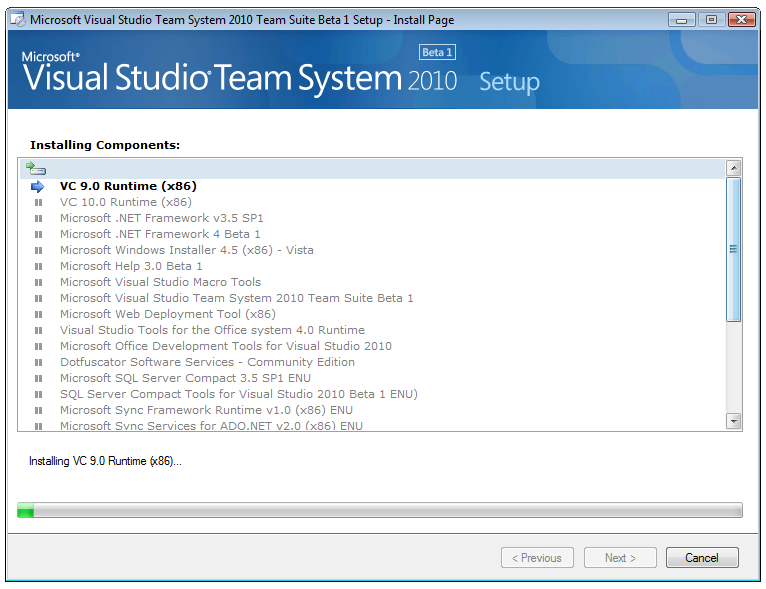 Visual Studio 2010 web installer progress screen
