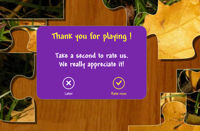 Puzzle Frenzy User Rating Prompt